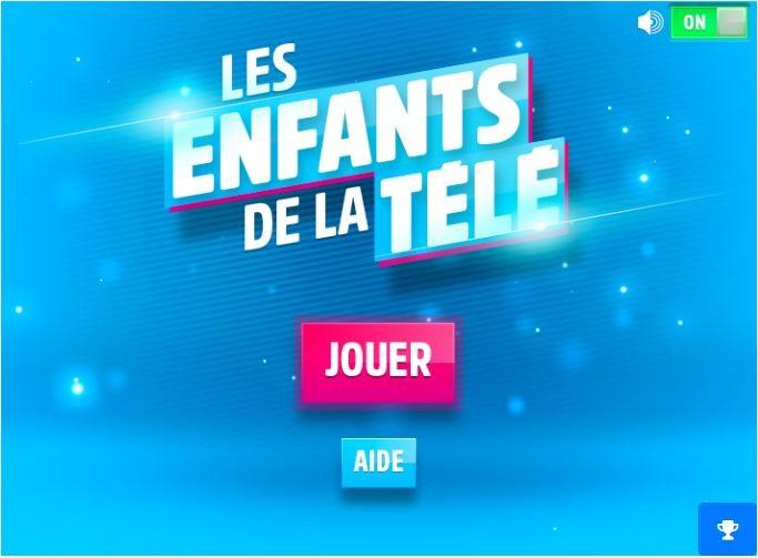 Page d'accueil du jeu célébrités Enfants de la TV