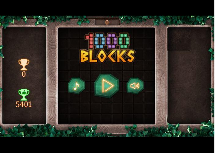 Accueil du jeu 1000Blocks