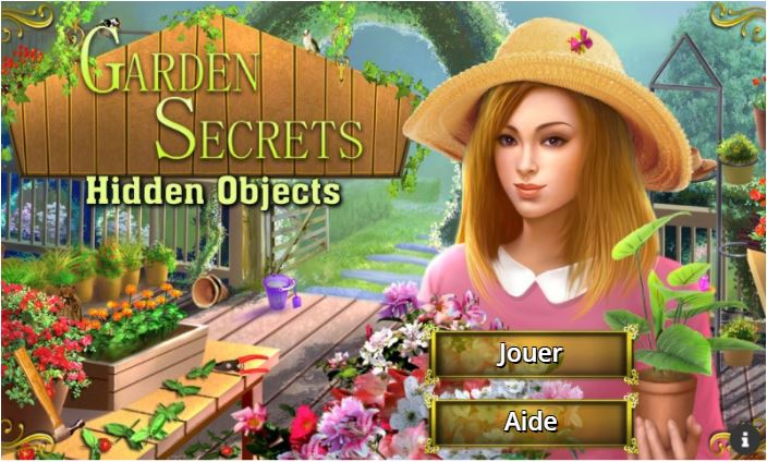 Accueil du jeu d'objets cachés Garden Secrets